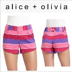 Alice + Olivia Pink and Purple Striped Shorts